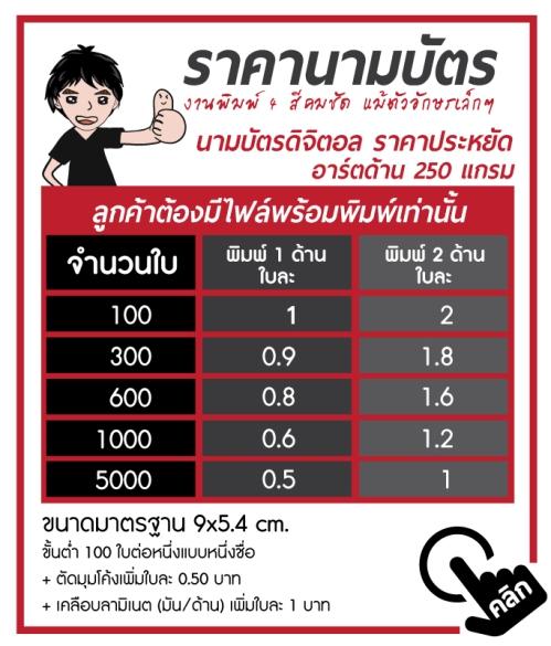 ราคา-namecard-250-gm