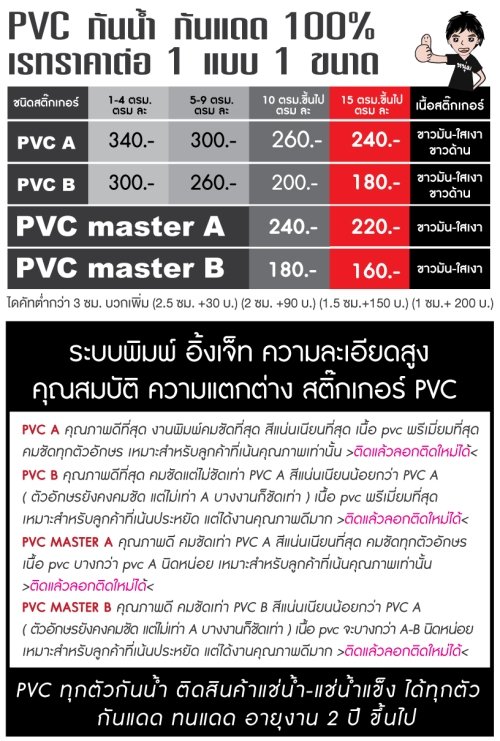 ราคาฉลาก-pvc+คุณสมบัติ